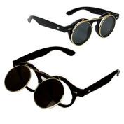 Vintage Flip Up Round Sunglasses