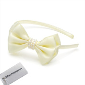 Sufias Accessories Flower Bow Headband Satin Alice Band Pearl Motif Weddings Hair Lady Bridesmaid Girl