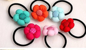 2Cuhair(tm) 2015 New Fashion Top Quality Baby Girl Kids elastic ponytail holder hair tie 6pcs Cute Big Flower Hair Rope Hair Band Accessories Rubber Band Elastic Hair Rope for Baby Kids Girl