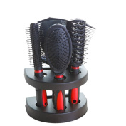 Hjuns 5 Pieces Hair Care Hair Brush Gift Set With Mirror & Stand Black