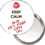 Button, Compact Makeup Mirror KEEP CALM AND GET YOUR LIPPY ON delivered in a black organza bag.