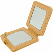Mele Peach Leatherette Double Compact Travel Cosmetic Mirror Press Stud MELE 553