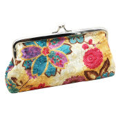 Embroidery Flower Handbag Hasp Coin Purse Pouch Wallet Clutch Bag