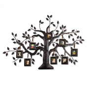 2015 JULY NEW Product!! Adeco Brown Black Decorative Collage Family Tree Iron Metal Wall Hanging Collage Picture Photo Frame, 8-Opening, 3.5cm x 4.7cm