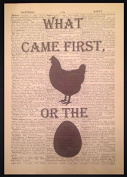 Vintage Chicken & The Egg Antique Dictionary Print Picture Page Kitchen Wall Art