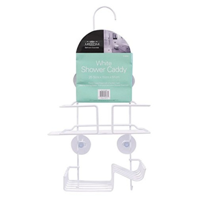 SHOWER CADDY RUST PROOF 2 TIER WHITE NON RUSTIC HANGING OVER SHOWER SUCTION BATH CADDY ORGANISER HOME LIFE STYLE DESIGN