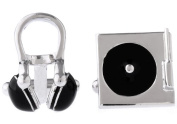 MFYS Novelty Cufflinks for Mens Jewellery Music Classic Headphones and CD Shape Design One Pair