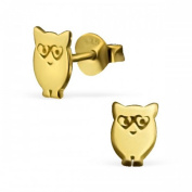 Sterling Silver Cute Owl Earrings Gold Plated and 925 Stamped