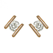 Small Rose Gold Plated. Crystal Stud Earrings - Good Quality