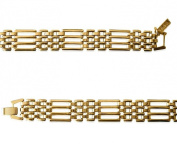 JQS - 18ct Yellow Gold Plated Gate Design Polished Link Bracelet Length 20Cm