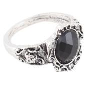 JaneDream 2 piece Vintage Black Carved Patterns Big Rhinestone Stone Ring