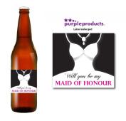 Will you be My Maid of Honour Beer Label Thank you for your help, Wedding Day, Marriage, Party Beer, Lager, Cider, Ale bottle label Celebration Gift, Present idea.