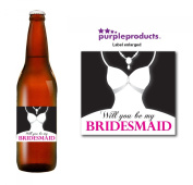 Will you be My Bridemaid Beer Label Thank you for your help, Wedding Day, Marriage, Party Beer, Lager, Cider, Ale bottle label Celebration Gift, Present idea.