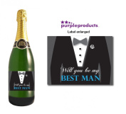 Will you be My Best Man Champagne Label Thank you for your help, Wedding Day, Marriage, Party Wine bottle label Celebration Gift, Present idea.