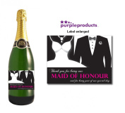 Maid of Honour Champagne Label Thank you for your help, Wedding Day, Marriage, Party Wine bottle label Celebration Gift, Present idea.