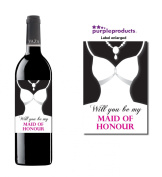 Will you be My Maid of Honour Wine Label Thank you for your help, Wedding Day, Marriage, Party Wine bottle label Celebration Gift, Present idea.