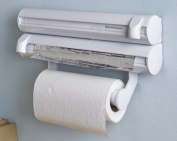 Kitchen Foil, Cling Film and Towel Holder, Dispenser - 2 Compartments, fits most sizes