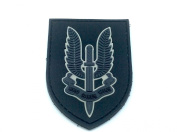 SAS Who Dares Wins Black PVC Airsoft hook and loop Patch