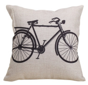18 X 18 Cotton Linen Throw Pillow Covers Decorative Bicycle Pattern Accent Pillows Cushion Covers