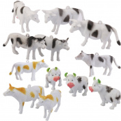 Hard Plastic Cow Farm Animals Figures Model Kids Toy Set of 12pcs