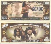 Novelty Dollar Bon Scott AC DC In loving Memory of Million Dollar Bills x 4 Rock Musician
