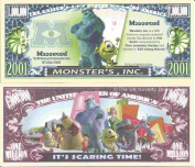 Novelty Dollar Monster's Inc Animated Comedy Film Million Dollar Bills x 4 Scaring Time