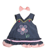 Summer Denim Dress with Pink Bow Outfit Teddy Clothes to fit 8-10 inch teddy bears
