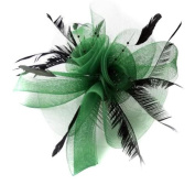 Green Butterfly Black Feather Wedding Ascot Fascinator on Comb Hat Hair Accessories