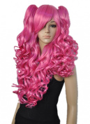 Women Ladys Long Pink Colour Two Clip-On Ponytail Cosplay Costume Hair Full Wigs