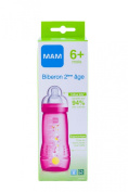 Mam 2nd Age 330ml Bottle 6 Months and + - Colour : Pink circus patterns