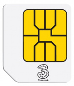 Three Pay As You Go Micro Data SIM with 0GB Preloaded Data for 3G Mobile Devices