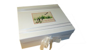 White Cotton Cards Baby's First Christmas Christmas Trees and Penguin Range A4 Keepsake Box