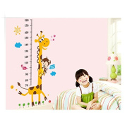 Wall Glamour Childrens Wall Stickers Giraffe Height Measuring Wall Decals Decor