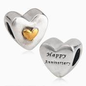 1 x Happy Anniversary Heart - Sterling Silver Charm Bead - Spanglebead