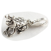 Sterling Silver Frog Prince Clip On Charm - With 11mm Clasp