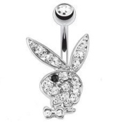 Beautiful Playboy Officially Non Dangle Licenced Clear Crystal Belly Navel Bar Lots of other Colours Available in our Pegasus Body Jewellery Amazon Shop