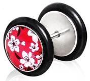 Red Cherry Blossom Fake Ear Plug Flesh Tunnel Earring ( Can Be Worn in a Normal Piercing ).