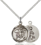 Sterling Silver St. Michael the Archangel Pendant with 46cm Stainless Steel Lite Curb Chain. Patron Saint of Police Officers/EMTs