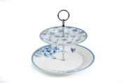 2 Tier Blue Rose Bone China Cake Stand with Chrome Stand