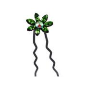 DoubleAccent Hair Jewellery Medium Crystal Daisy Bun Stick Green Colour