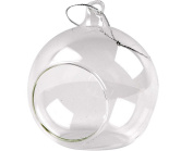 6 Glass Open Front Christmas Bauble Ornaments - 80mm Wide