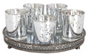 Set Of 5 Silver Mercury Glass Votive Candle Tealight Holders With Mirrored Tray Base