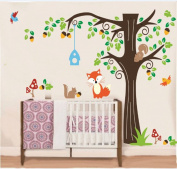 Sweet Home Decorative Mural Wall Sticker Wall Art Decal Paper Lovely Jungle Forest Fox & Squirrel playing on colourful tree Children Nursery Decor Sticker