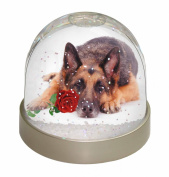 German Shepherd with Red Rose Snow Dome Globe Waterball Gift