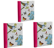 Arpan 3 x Self Adhesive Photo Albums Totaling 108 Sheets 216 Sides - Vintage Butterfly