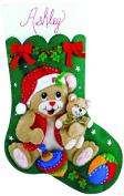 Design Works Playful Bears Felt Stocking, Multi-Colour