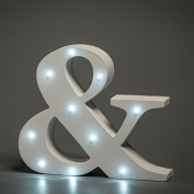 Up in Lights Decorative LED Alphabet White Wooden Letters - Ampersand