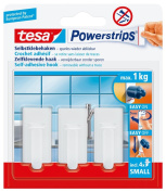 tesa 57530 Powerstrips Small Hooks, Classic White Rectangle, Self Adhesive And Removable