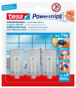 tesa 57540 Powerstrips Small Hooks, Classic Chrome Rectangle, Self Adhesive and Removable