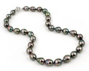 Rare Top AAA Black Peacock Tahitian Pearl Necklace, Huge Drop 10 x 12+mm with 14K Ball Clasp